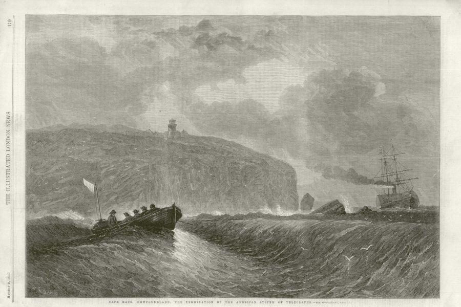Associate Product Cape Race, Newfoundland, the end of the American Telegraph system. Canada 1861