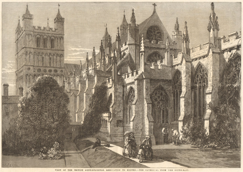 Associate Product Exeter cathedral from the south-east. Devon. Churches 1861 ILN full page print