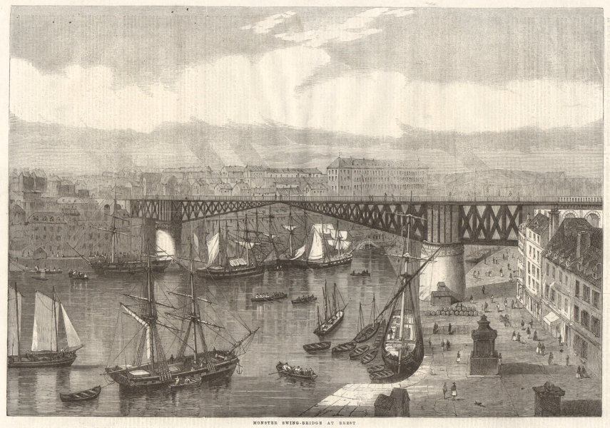 Associate Product Monster swing-bridge at Brest. Finistère 1861 antique ILN full page print
