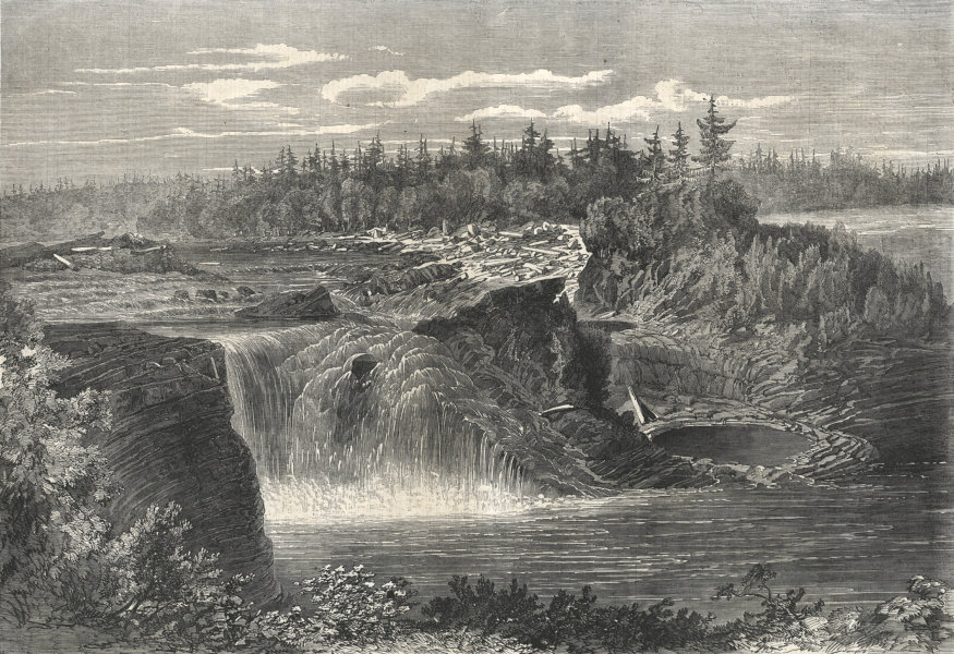 Associate Product The falls of the Chaudiere, near Quebec. Canada. Waterfalls 1862 ILN full page