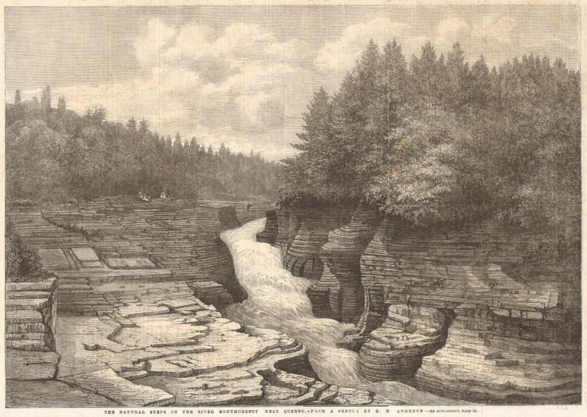 Associate Product The natural steps on the River Montmorency near Quebec, by G. H. Andrews 1862