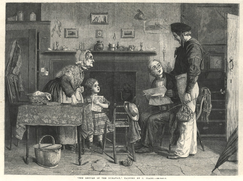 """Associate Product """" The return of the runaway """", painted by J. Clark. Family 1862 ILN full page"""