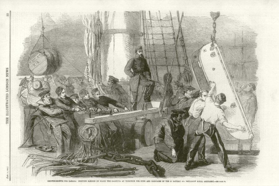 Associate Product Canada reinforcements Sledge Woolwich 4th Battalion Royal Artillery. London 1862