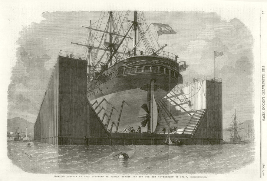 Floating pontoon by Messrs. Rennie & Son for the Government of Spain 1862