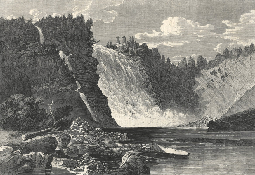 Associate Product The Falls of Montmorency, near Quebec. Canada. Waterfalls 1862 ILN full page