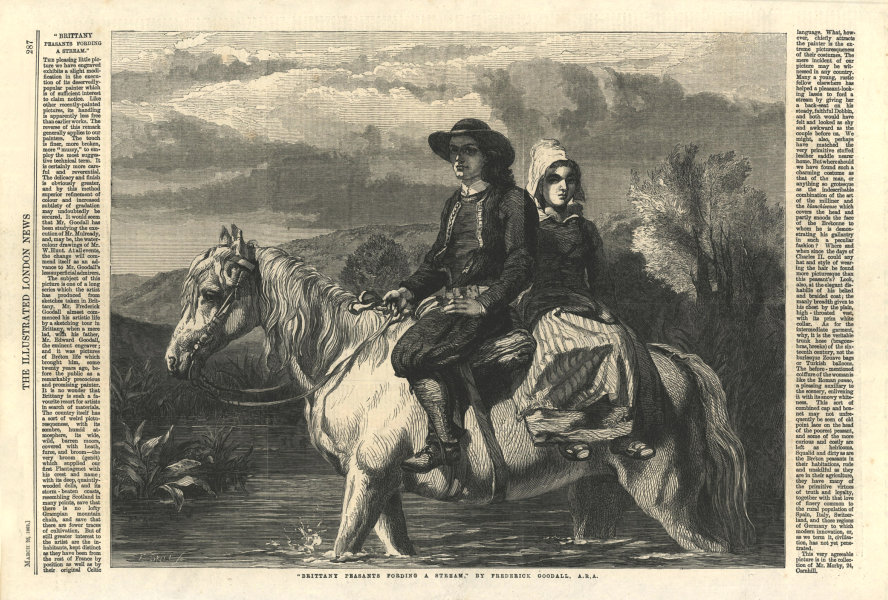 """Associate Product """"Brittany peasants fording a stream"""". France. Horses 1862 ILN full page print"""