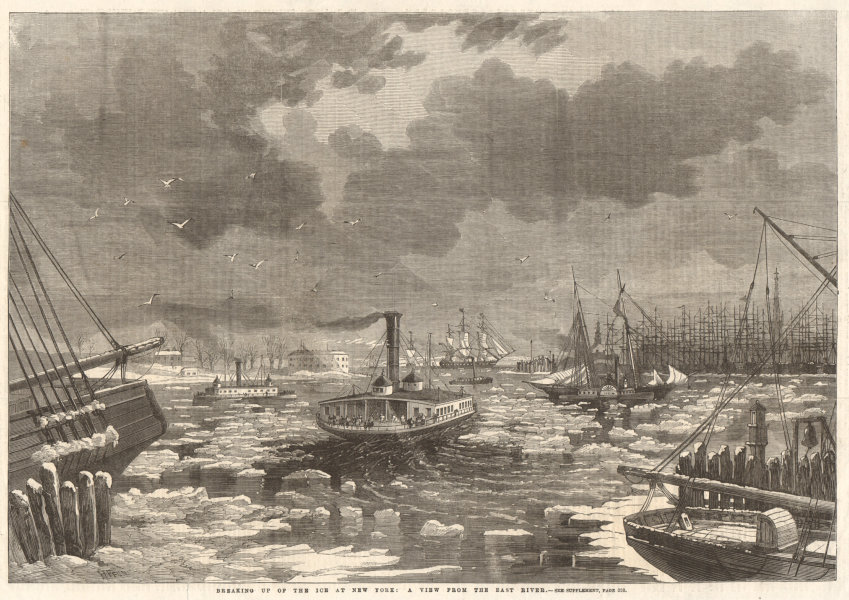 Associate Product Breaking up of the ice at New York: a view from the East River 1862 ILN print