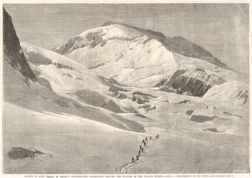 Associate Product Ascent of Mont Blanc: Bisson leaving the Grands Mulets. Haute-Savoie 1862