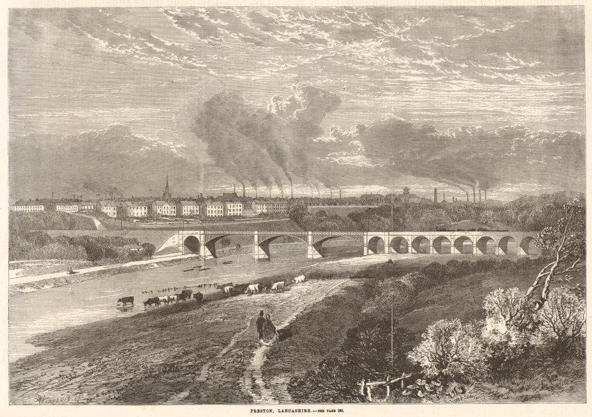 Associate Product View of Preston, Lancashire 1862 antique ILN full page print