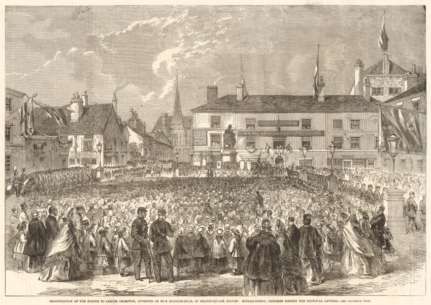Associate Product Nelson Square, Bolton. Samuel Crompton statue inauguration. Spinning-mule 1862