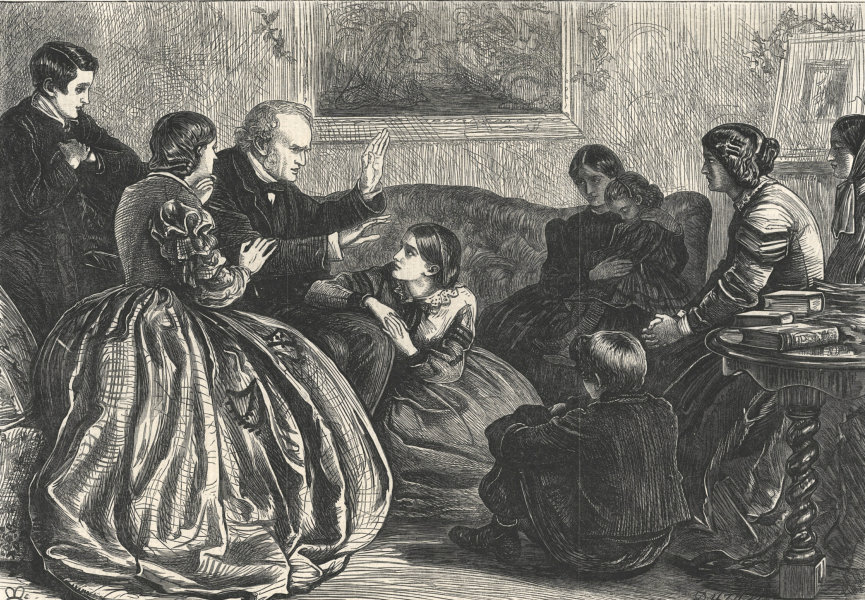 Associate Product Christmas story-telling. Family 1862 antique ILN full page print