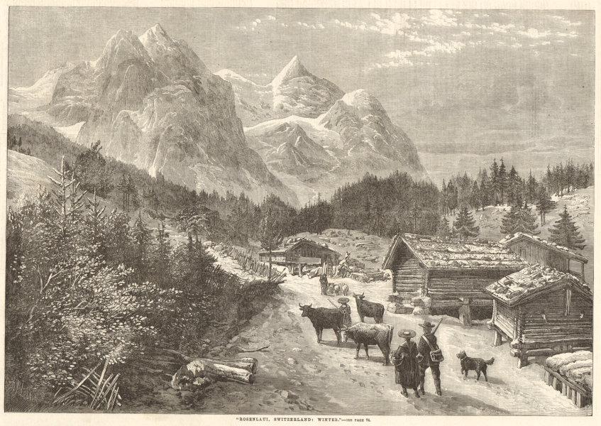 "Associate Product ""Rosenlaui, Switzerland: winter"" 1863 antique ILN full page print"