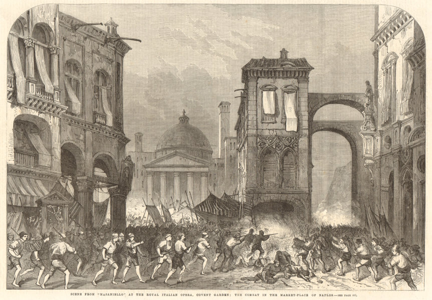 """Associate Product Scene from """"Masaniello"""": combat in the Naples market-place 1863 ILN full page"""