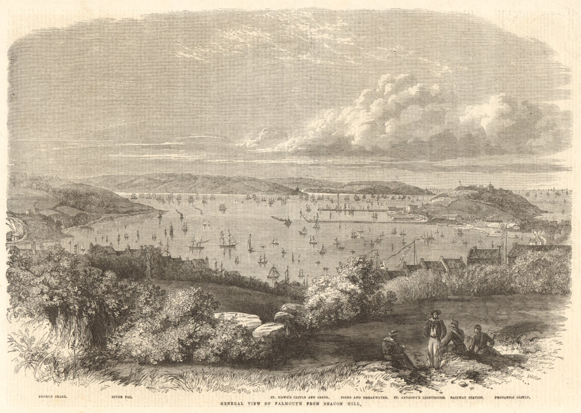 Associate Product General view of Falmouth from Beacon Hill. Cornwall 1863 antique ILN full page