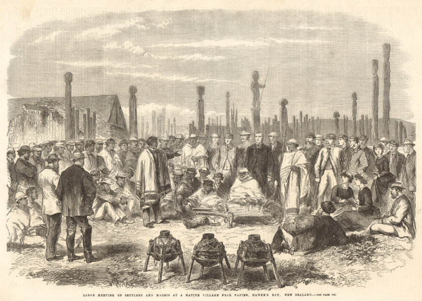 Associate Product Settlers & Maoris meeting near Napier, Hawke's Bay, New Zealand 1863 ILN print