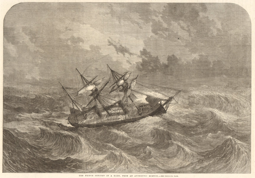 Associate Product The Prince Consort in a gale, from an authentic sketch. Royal Navy. Ships 1863
