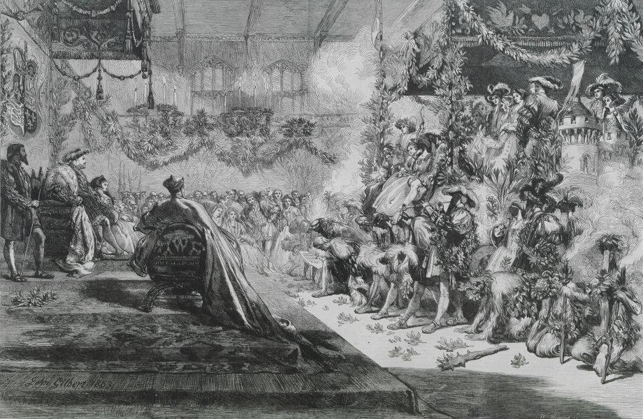 Associate Product King Henry VIII keeping Christmas at Greenwich. London. Society 1863 ILN print