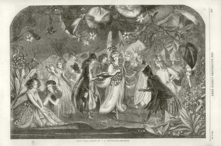 Associate Product Lily's Ball. Fantasy 1863 antique ILN full page print