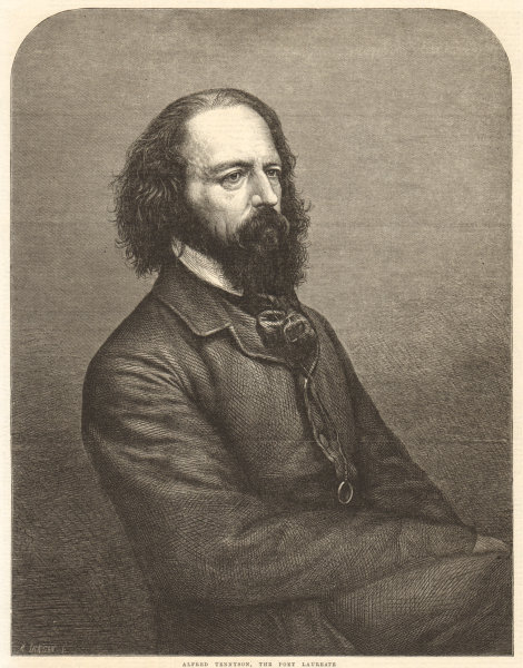 Associate Product Alfred Tennyson, the Poet Laureate. England 1864 antique ILN full page print