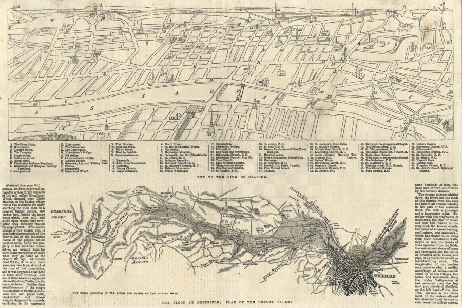 Associate Product Key to the view of Glasgow. The Flood at Sheffield: Loxley Valley plan 1864 map