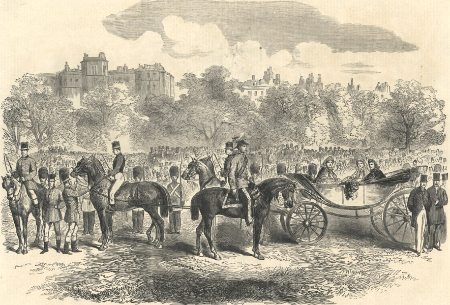 Associate Product The volunteer review in Hyde Park: The Princess of Wales 1864 antique ILN page