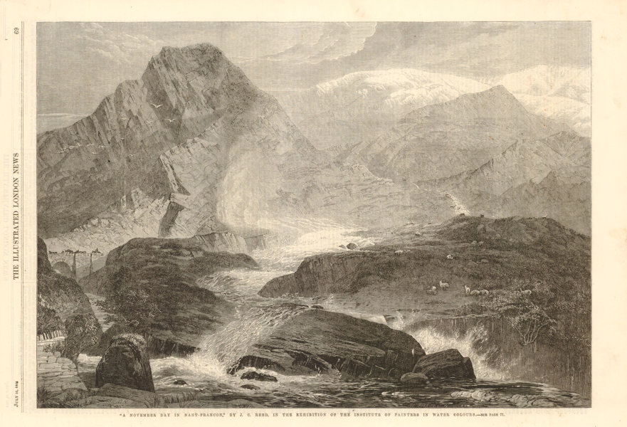 """Associate Product """" A November day in Nant Ffrancon """" by JC Reed. Wales 1864 ILN full page print"""