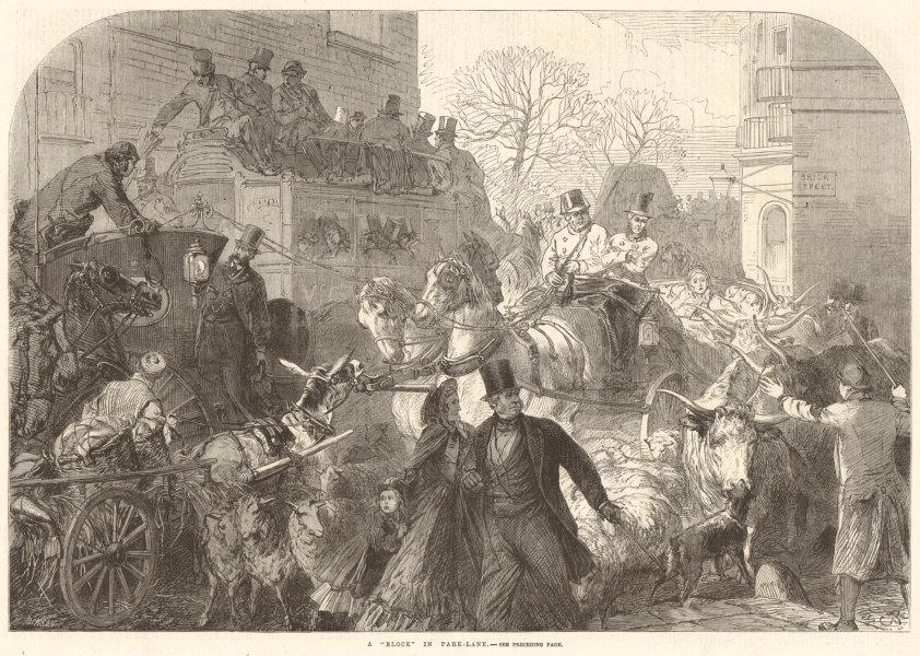 "Associate Product A ""block"" in Park Lane. Brick Street. London 1864 antique ILN full page print"