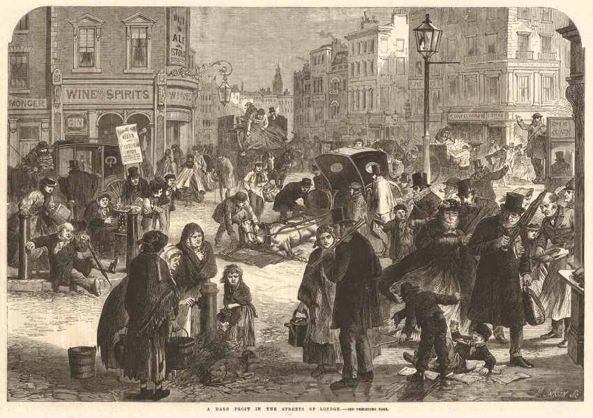 Associate Product A hard frost in the streets of London 1865 antique ILN full page print
