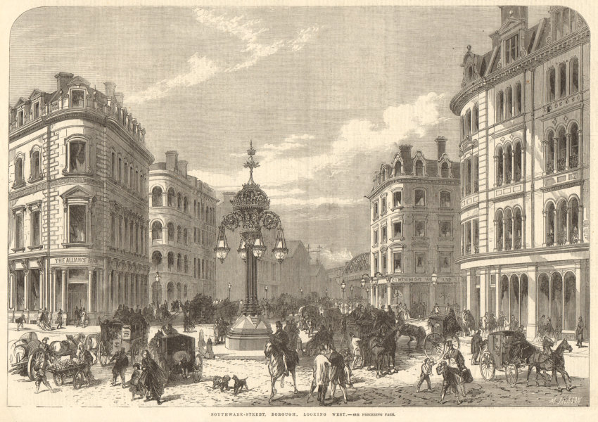 Associate Product Southwark Street, Borough, looking west. London 1865 antique ILN full page