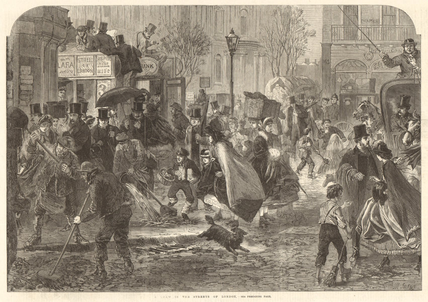Associate Product A thaw in the streets of London. Cheapside 1865 antique ILN full page print