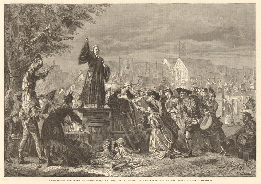 """Associate Product """"Whitefield preaching in Moorfields"""" 1742, by E. Crowe. London. Clergy 1865"""