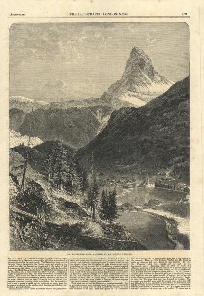 Associate Product The Matterhorn with Zermatt in the foreground. Switzerland 1865 ILN full page