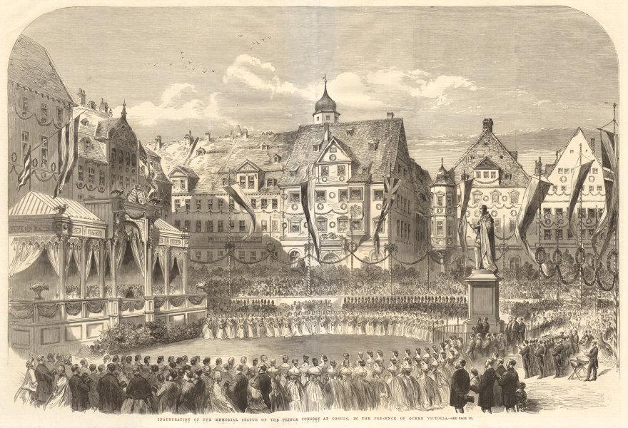 Associate Product Prince Albert memorial statue at Coburg inauguration. Queen Victoria 1865