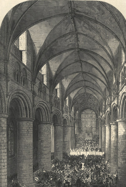Associate Product The Gloucester Musical Festival: the nave of the cathedral, looking west 1865