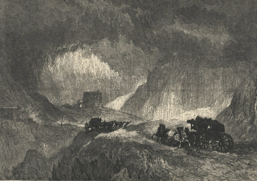"""Associate Product """"A snowstorm on Mont Cenis"""". Savoie. Mountains 1865 antique ILN full page print"""
