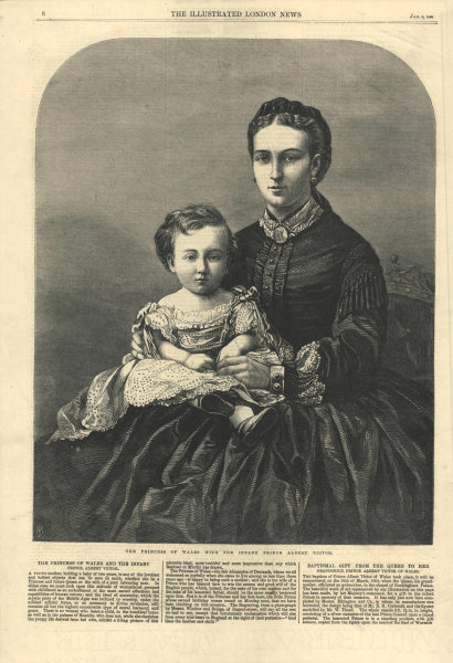 Associate Product The Princess of Wales with the infant Prince Albert Victor. Royalty 1866