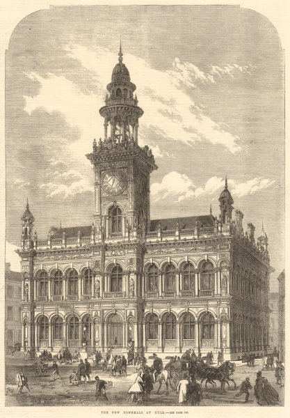 Associate Product The new town hall At Hull. Yorkshire. Buildings 1866 antique ILN full page