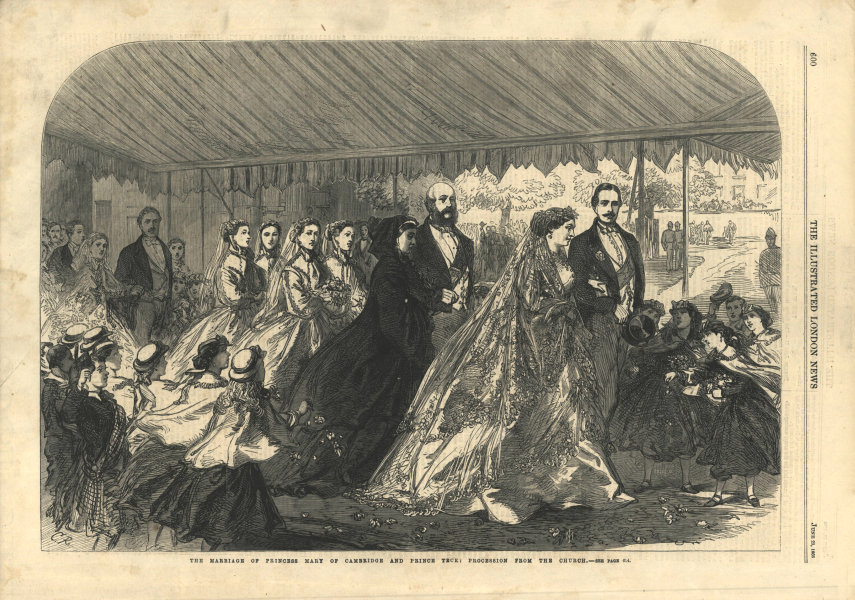 Associate Product Marriage Princess Mary of Cambridge Prince Teck: procession from church 1866