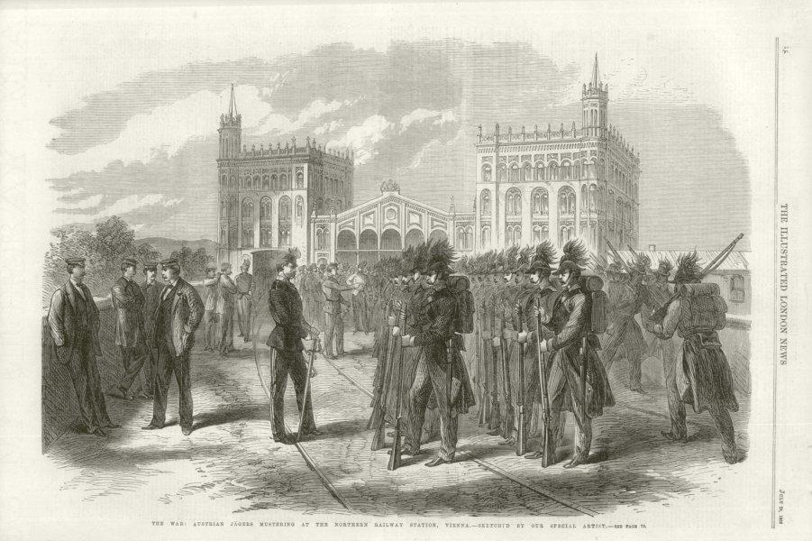 Associate Product Austro-Prussian War: Austrian Jägers. Northern railway station, Vienna 1866