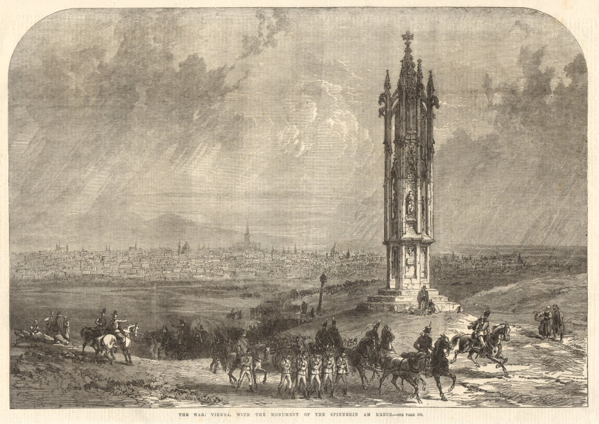 Associate Product The war: Vienna, with the monument of the Spinnerin am Kreuz. Austria 1866