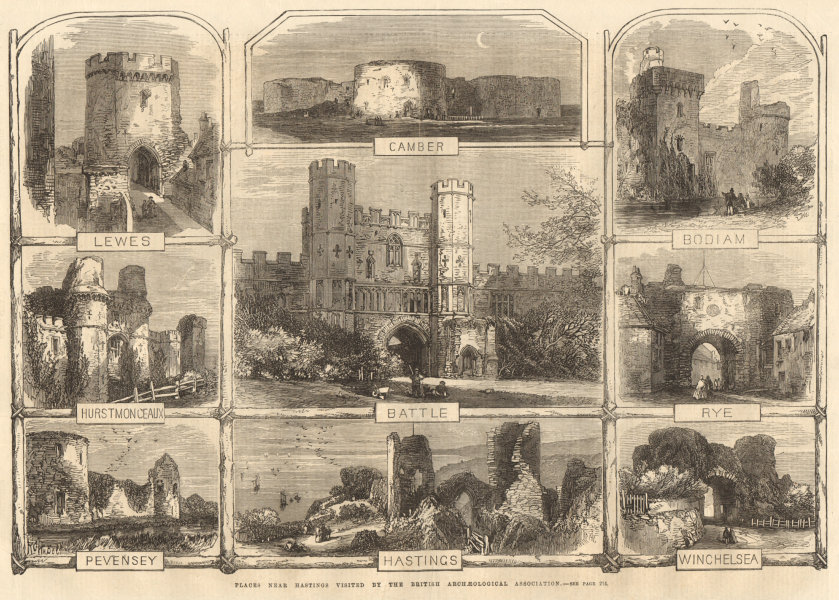 Associate Product Sussex Castles. Lewes Camber Bodiam Rye Battle Pevensey Hastings Winchelsea 1866