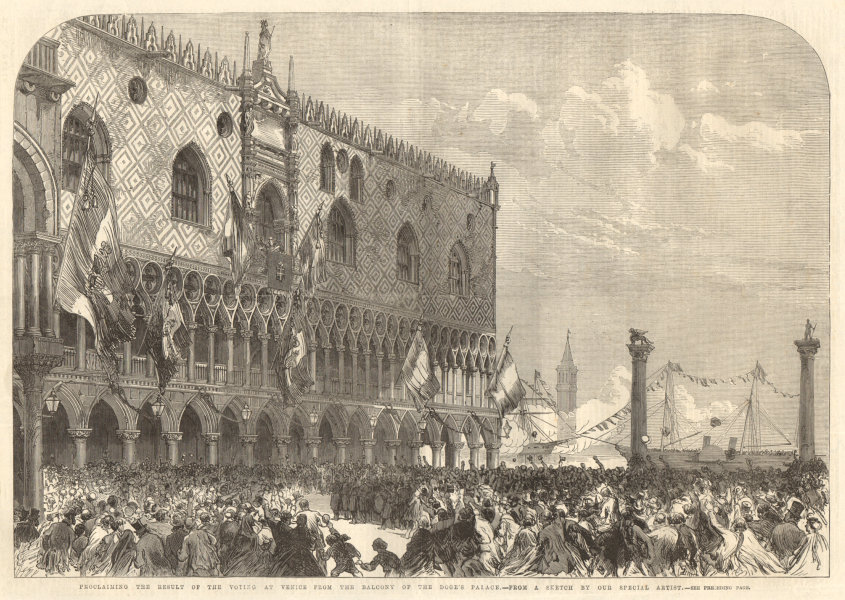 Associate Product Proclaiming the election result at Venice from the Doge's Palace balcony 1866