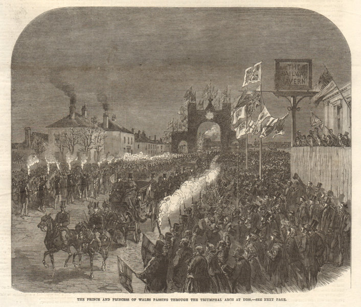 Associate Product The Prince & Princess of Wales. Triumphal arch at Diss. Norfolk 1866 ILN print