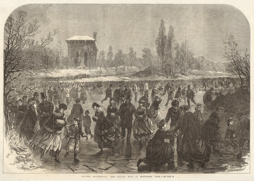 Associate Product The Ladies' Mile in Battersea Park. London. Winter Sports Ice Skating 1867