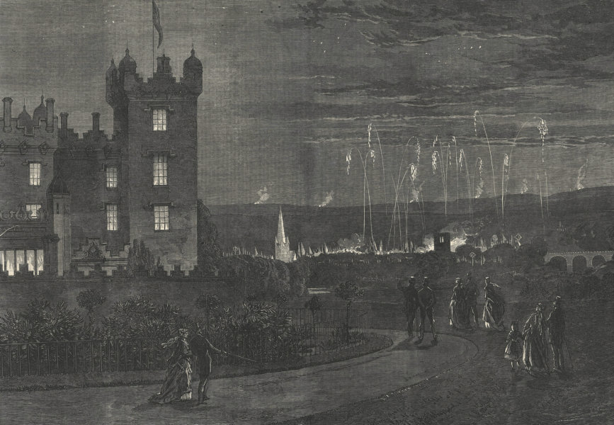 Associate Product Fireworks & beacon fire from Floors Castle, Kelso, Scotland 1867 ILN full page
