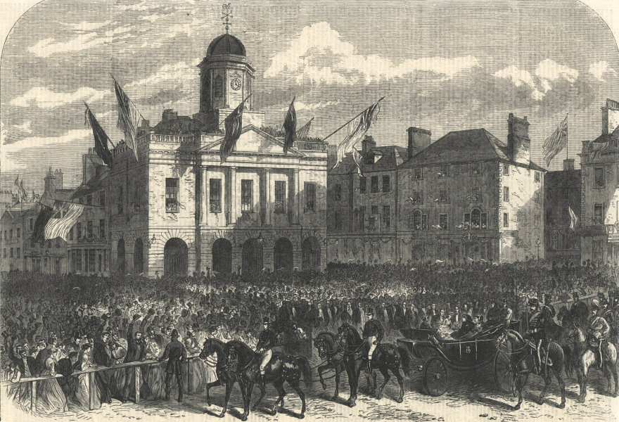 Associate Product Reception of Queen Victoria, Market Square, Kelso. Scotland 1867 ILN full page