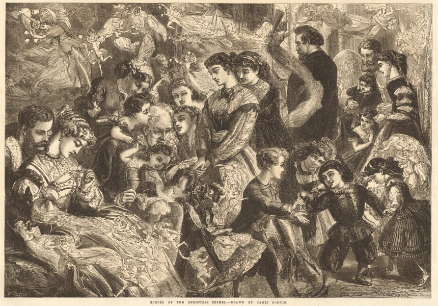Associate Product Echoes of the Christmas chimes - drawn by James Godwin. Family 1867 ILN print