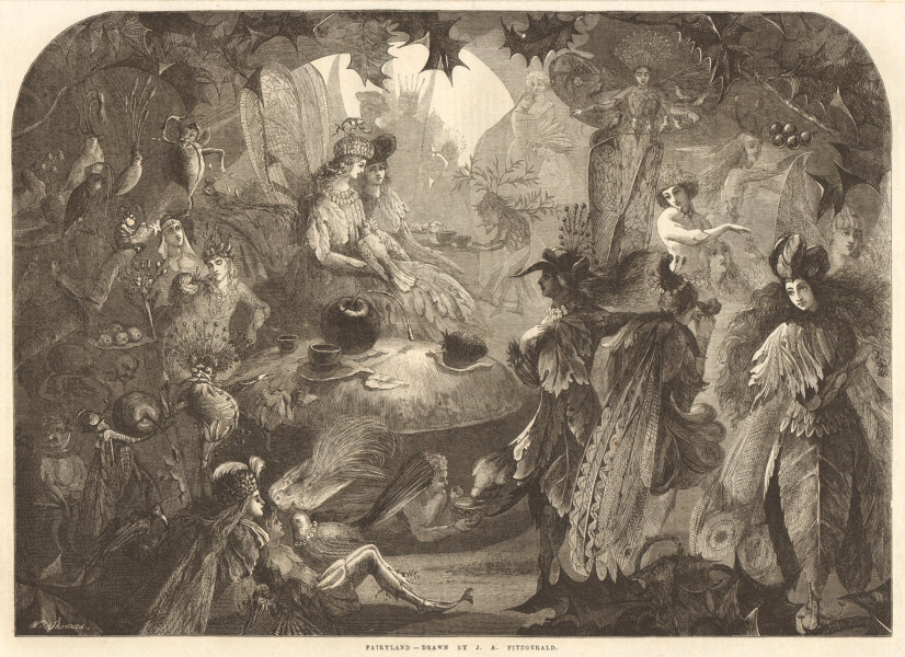 Associate Product Fairyland - drawn by J. A. Fitzgerald. Fantasy 1867 antique ILN full page print