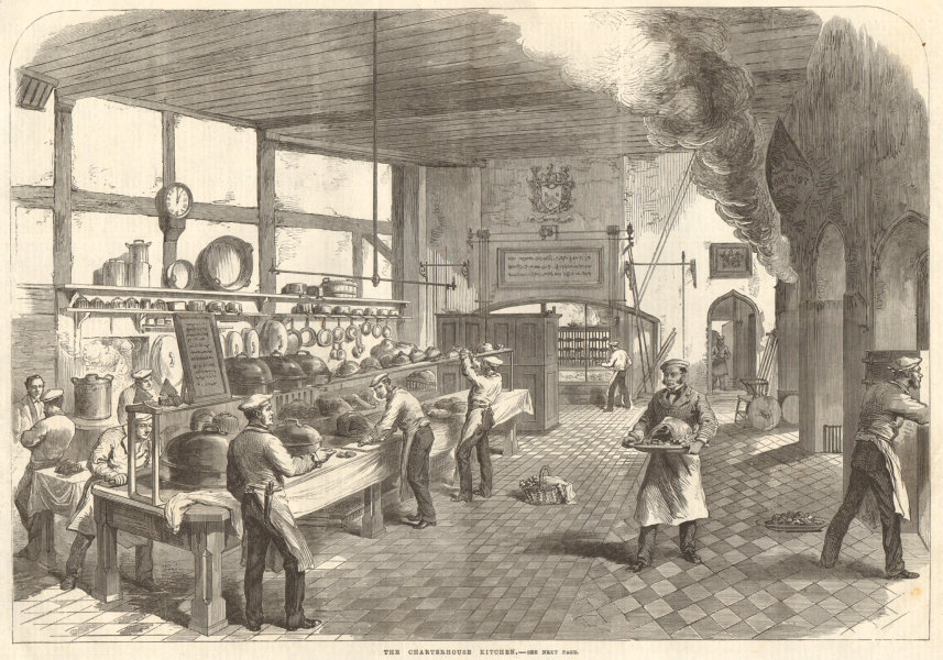 Associate Product The Charterhouse kitchen. London. Hospitality 1867 antique ILN full page print