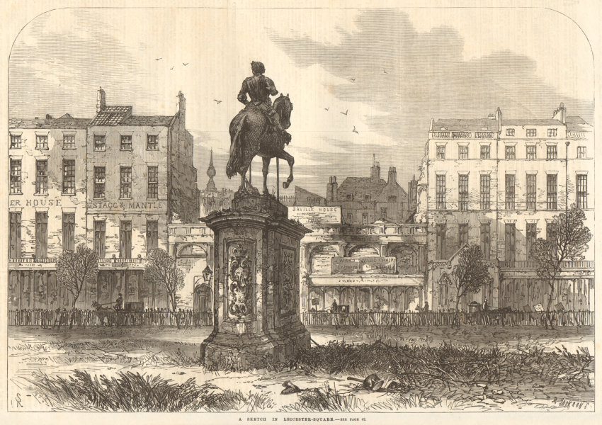 Associate Product A sketch in Leicester Square. London 1868 antique ILN full page print